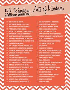 52 Random Acts of Kindness via Positively Smitten