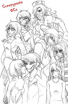 CREEPYPASTA OCS Nurse Ann, Ticci Toby, Clockwork, Judge Angel, Bloody Painter, The Puppeteer, Zero, and Lazari
