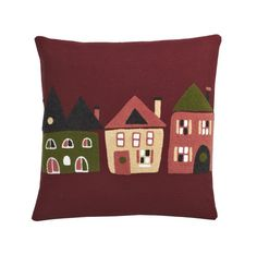 Crewel Pillow Covers – Village: Crewel embroidered with Christmas village houses against a rich red ground, our whimsical pillow cover is a fun way to add a dose of holiday cheer to the sofa, bed or your favorite armchair.