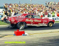 NHRA U.S. Nationals, Indianapolis, Indiana 1970: Bobby Wood and teh Coca-Cola Cavalcade Chevy Nova, sporting a Chrysler hemi for motivation.
