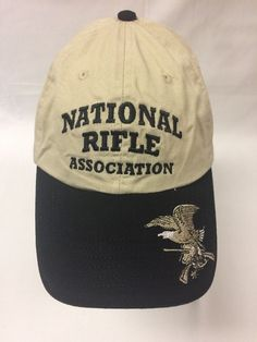 NRA Hat Eagle Brim Logo Embroidered Khaki Cap Strapback Nice  1757133fe331