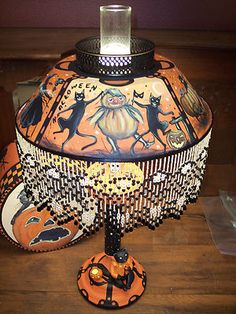 Vintage Halloween Tole Lamp by Artist Black Cats Frolics Hand Painted Sculpted | eBay