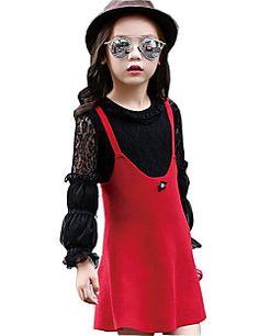 Vestido Chica de-Casual/Diario-Un Color-Algodón / Rayón-Primavera / Otoño-Rojo