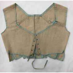 Stays, 1800-1815.  Linen trimmed w/ silk ribbon, CF boned.