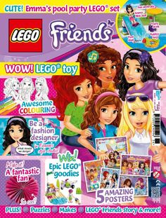 In this issue:    CUTE! Emma's pool party Lego set    Awesome colouring    Be a fashion designer in Emma's style studio!    5 amazing posters    Make it! A fantastic fan    Win! Epic Lego goodies    PLUS! Puzzles, Makes, Lego friends story & more!