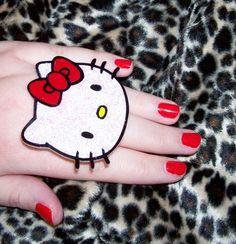 white glitter hello kitty LARGE ring by artallnight on Etsy