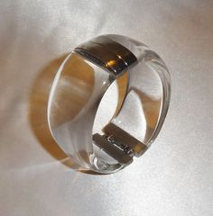 Vintage Clear Lucite and Silver Tone Metal Clamper Bracelet