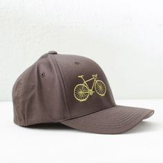 VITAL BICYCLE S/M Flexfit Fitted Cap Olive on Brown, small/medium ($24) ❤ liked on Polyvore featuring accessories and flexfit