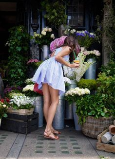 Pin-striped light blue summer dress | The Londoner #flowers #sandals