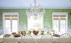 Nathan Turner - House Beautiful De Gournay wallpaper, bamboo shades, and rattan chairs by McGuire create a gorgeous dining room by inter. Green Dining Room, Dining Room Design, Dining Room Furniture, Dining Rooms, Dining Area, Furniture Ideas, Kitchen Design, Home Design, Interior Design
