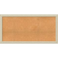 Framed Cork Board, Choose Your Custom Size, Country White Wash Wood (29 x 17-inch), Beige Off-White