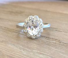 White Topaz Engagement Ring Oval Promise Ring for Her White