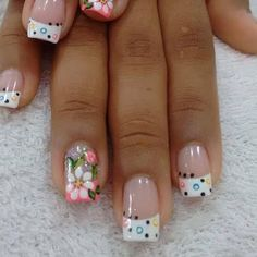 Glamorous Flower Nail Art Designs for Summer Fabulous Nails, Gorgeous Nails, Pretty Nails, Fingernail Designs, Toe Nail Designs, Nails Design, French Nails, French Pedicure, Nagel Hacks
