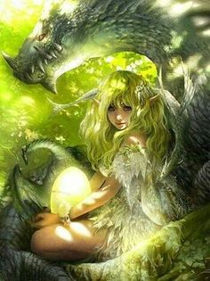 Cute little elf with her dragons