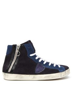 BIKE SUEDE HIGH TOP SNEAKERS WITH METALLIC LEATHER SHIELD - Bike blue suede high top Sneakers with contrast suede profiles and leather detailing. Metal zipper closure at lateral side with leather profiles. Metalized blue leather shield logo on outer side. Cotton laces. Cotton terry lining and used effect rubber sole. #playgroundshop #onlineshop #philippemodel #sneakers #fashion #style #FW14 #mens