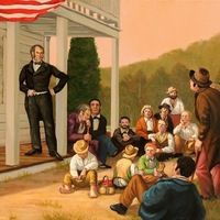 """Henry Clay, speaking at the Treber Inn,"" by Herb Roe (2013).: Herb Roe's ""Henry Clay, speaking at the Treber Inn"" is one of the original illustrations commissioned for the launch of Scioto Historical in the summer of 2013."