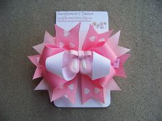 Pink Ballerina Hair Bow Double Stacked by SunflowersandDaisies, $8.50