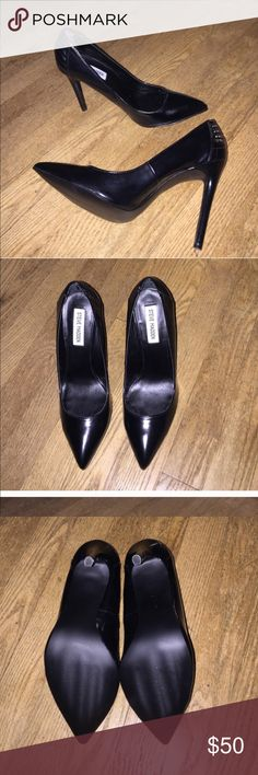 Steve Madden Patent Leather High Heels Insanely sexy stiletto high heels by Steve Madden. Brand new, never worn, they will come with the original box. All black patent leather with quilting design on the heels giving them an edgy chic look. No damage, no defects. Steve Madden Shoes Heels