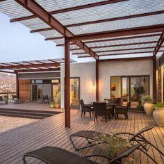 Backyard Concrete Patio With Wooden Roof | 1989 | Patio Decor Ideas