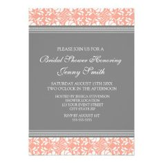 Coral Gray Damask Bridal Shower Invitation Cards