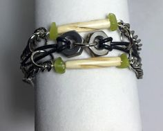 Handmade-Genuine Green Jade Stone-Carved Bovine Bone-Hex Nut-Black Leather Cord-Boho-Steampunk-Bracelet by WishboneJewelryCraft on Etsy