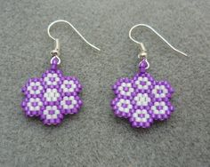 Handmade Flower Beaded Earrings Peyote by ErikaVondrakDesigns