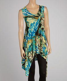 Look what I found on #zulily! Blue & Beige Animal Sleeveless Sidetail Top - Women & Plus by Sole Dione #zulilyfinds