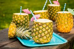 Piña Colada Pineapple Cups   *Add frozen pineapple in addition to fresh, add a banana, coconut flakes and a splash of fresh lime juice