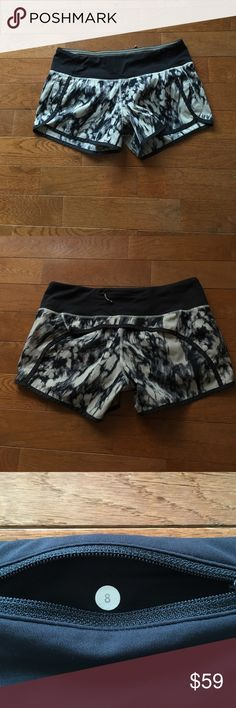 """🔥Lululemon Great Granite Run Times Short-HTF!!🔥 Lululemon shorts-HTF pattern. Perfect condition, no signs of wear!! Back zip pocket, never ending drawstring at the waist, 2 hidden front key pockets, 4"""" inseam. Check out my closet for tons of other lulu and athleta items!! Bundle and save-🚫lowball offers lululemon athletica Shorts"""