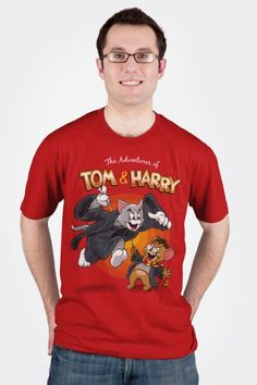"""Celebrating the adventures of that wild duo """"Tom & Harry"""": the powerful evil villain, and the small hero who always escapes and wins in the end. Best Cartoons Ever, Cool Cartoons, Evil Villains, Alternative Disney, Tom And Jerry, Harry Potter Fandom, My T Shirt, American Apparel, Shirt Designs"""
