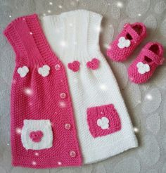 """diy_crafts- """"Baby vest knitted with bear pattern. Its size idela for 0 - 1 age babies."""", """"This post was discovered by Ayt"""", """"This model w Diy Crafts Knitting, Knitting For Kids, Baby Knitting Patterns, Knitting Designs, Knitted Baby Cardigan, Knit Baby Sweaters, Baby Knits, Crochet Girls, Knit Crochet"""