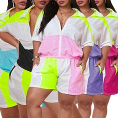 2 Piece Plus Size Short Turn-Down Collar Top And Shorts Set Plus Size Two Piece, Plus Size Shorts, Collar Top, Summer Fashion Outfits, Zipper, Sleeves, Pants, Tops, Women