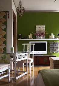 """Love, love the TV stand (and I feel really bad calling this beautiful antique piece of furniture the """"TV stand"""")"""