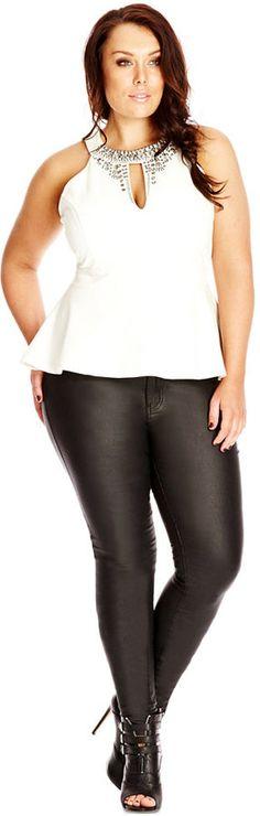 Plus Size Sleeveless Embellished Peplum Top
