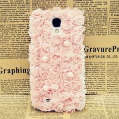 3D Flower +Lace Samsung Galaxy S4 Case (Baby Pink)