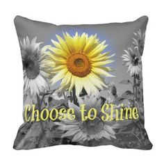 Shop Inspirational Choose to Shine Quote with Sunflower Throw Pillow created by QuoteLife.