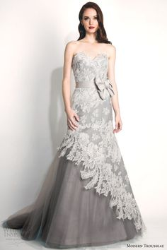 http://www.weddinginspirasi.com/2014/10/14/modern-trousseau-fall-2015-wedding-dresses/ Modern Trousseau fall 2015 #bridal collection: Storm strapless french alencon lace #wedding dress oversized bow gray tulle skirt #weddinggown #weddingDress