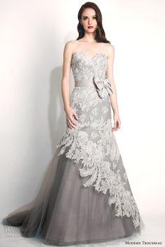 modern trousseau fall 2015 #bridal storm strapless french alencon lace #wedding dress oversized bow gray tulle skirt #weddings #weddingdress #weddingdresses http://weddinginspirasi.com/2014/10/14/modern-trousseau-fall-2015-wedding-dresses/