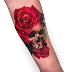 Feed your ink addiction with 50 of the most beautiful rose tattoo designs f 42 Tattoo, 3d Rose Tattoo, Coloured Rose Tattoo, Skull Rose Tattoos, Tattoo Son, Rose Tattoos For Men, Tattoos For Guys, Tattoo Life, Rosen Tattoo Frau