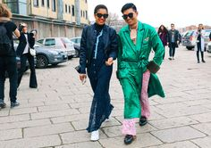 Tamu McPherson in Adidas sneakers and Bryanboy in Gucci