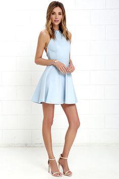Delightful Surprise Light Blue Skater Dress at Lulus.com!