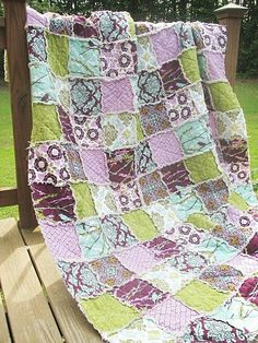 Twin Size Quilt, Rag, Aviary 2 in lilac, purple green turquoise, ALL NATURAL, fresh modern handmade bedding-Quilts Bed Twin patchwork bedding home decor country home southern charm quilts twin size rag quilts twin quilt eco friendly aviary 2 lilac green  handmade