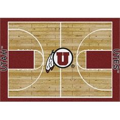 Utah Utes Basketball Court Rug