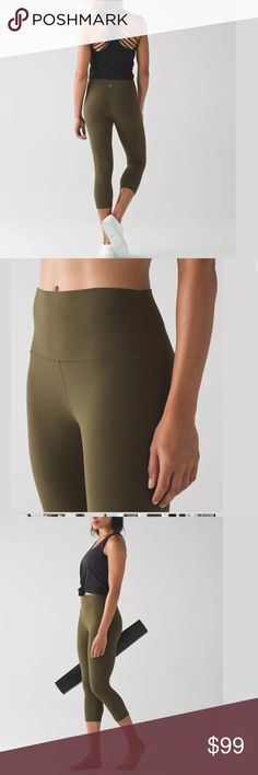 LULULEMON Align Crops Army Fatigue Green LULULEMON Align Crops in Army Fatigue Green. Buttery soft, the best feeling high rise crops! Excellent condition, no flaws.                     Size 8 lululemon athletica Pants Leggings