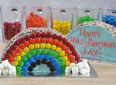 Half-Birthday Rainbow Cakes