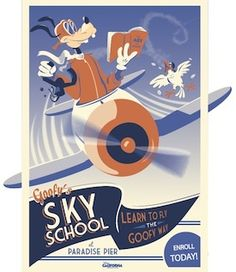 Goofy's Sky School poster, Disney California Adventure airplane plane