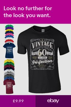 0ea26fd44 Birthday Gift T-Shirt Made in 1958 Vintage Star Age 60 Years Mens Ladies
