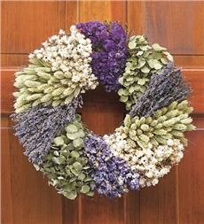 "Lavender Patchwork Wreath, 22"" dia."