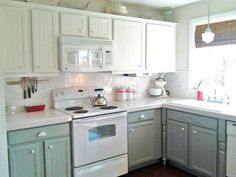 Sage Green Kitchen Cabinets With White Appliances.Sage Green Kitchen Cabinets With Black Appliances In 2019 . Green Kitchen Cabinets And White Dark Green Kitchen . Kitchens With White Appliances And Dark Cabinets Cream . Home and Family Painting Kitchen Cabinets White, Two Tone Kitchen Cabinets, Kitchen Cabinet Colors, Cabinet Decor, Kitchen Paint, Kitchen Redo, Kitchen Colors, New Kitchen, White Cabinets