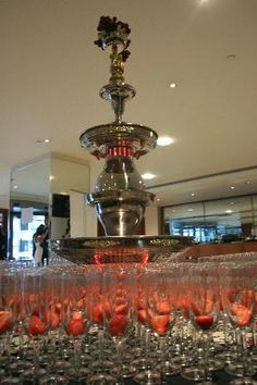 Champagne Fountains -- Strawberry in Glass